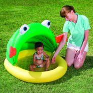 """Детский круглый надувной бассейн с тентом и надувным дном """"Зеленый Лягушонок"""" для детей от 1-го до 3-х лет"""