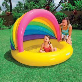 """Детский бассейн """"Радуга"""" с надувным дном и тентом для детей от 1-го до 3-х лет"""